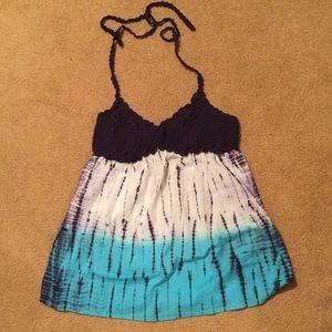 Women's Tie Dye Halter Knit Top Size Large